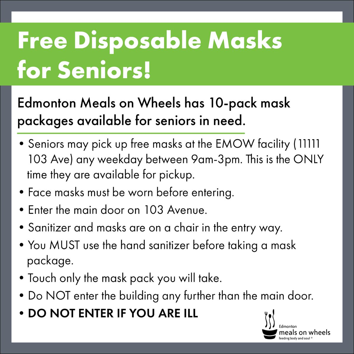 Are you a senior or know a senior in need of disposable masks? Come on down to our facility to pick up a free package of 10 disposable masks! Please review the pickup instructions listed prior to visiting our facility.  #mask #covid19 #pandemic #PPE #facemask #safety #coronavirus https://t.co/DnG0aAyLq5