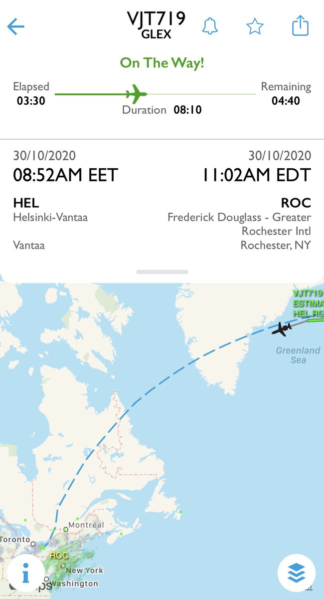 Today in private jet spotting: Bombay to Rochester, N.Y., via Helsinki; Oakland to Stockholm; Newburgh, N.Y. to Bodrum, Turkey; London to Bangor and on to Oakland #AvGeek https://t.co/VJ5oQgiceN