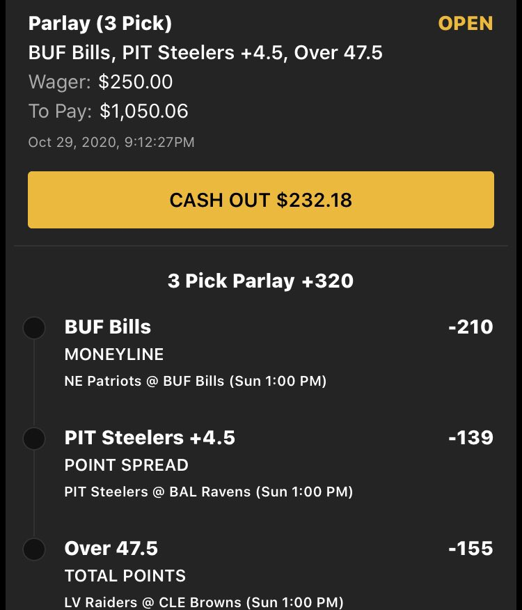 #SundayFunday Parlay 2:  BUF ML -210 PIT Alt Spread (+4.5) -139 LV/CLE Alt O/U (Over 47.5) -155  Parlay +320 https://t.co/wQJnN1AUFS