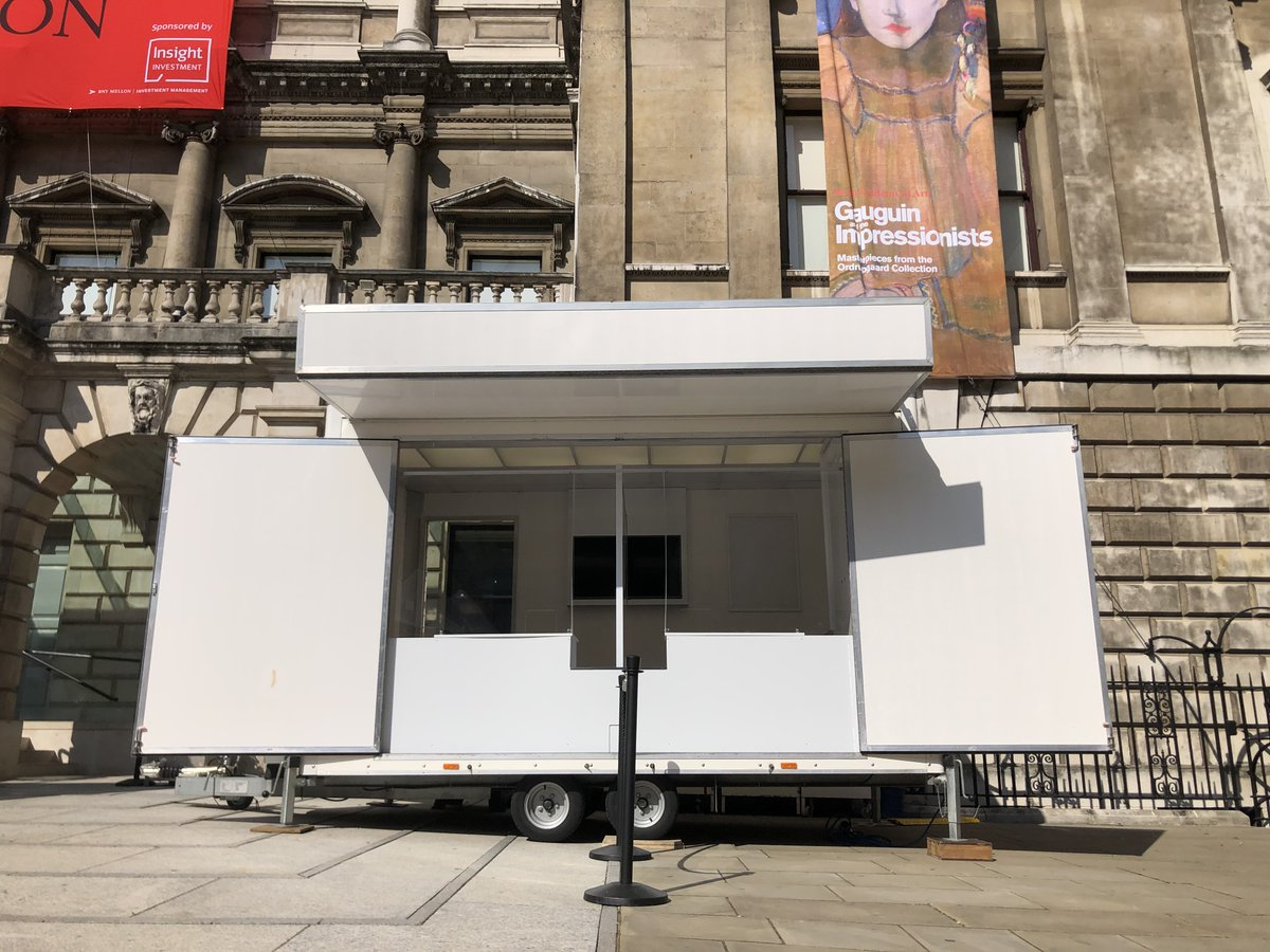 @royalacademy hired our #exhibition #trailer for outdoor #ticket sales for their #SummerNotSummer exhibition. A simple, effective counter + screens between sellers + customers.  Book #trailers + #roadshow #vehicles or buy #COVID #screens on 01732 740370 https://t.co/qgGsy7xAem https://t.co/D00xpahCWi