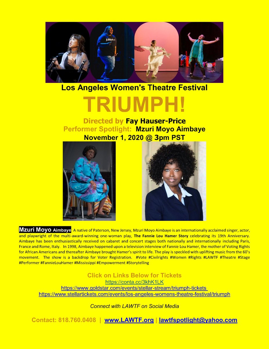 LAWTF presents TRIUMPH!  November 1 @ 3pm https://t.co/4WUujXjHGi  Mzuri Moyo Aimbaye an #internation #singer #actor #playwright of #award #winning #Solo #Play, The Fannie Lou Hamer Story #music #CivilRights #VoterRegistration #Vote #Women #LAWTF #Theatre #Stage #FannieLouHamer https://t.co/ohSYGajIKH