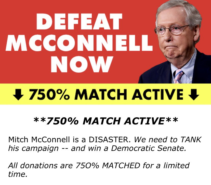 McConnell made the BIGGEST MISTAKE of his LIFE: Since confirming Ruth Bader Ginsburg's replacement, 750%-MATCHED donations have poured in to punish him. Remember: McConnell is clinging to a 1 point lead! PLEASE donate to defeat Mitch McConnell: https://t.co/sFgjYW7PWN https://t.co/1oUbMDqRE0
