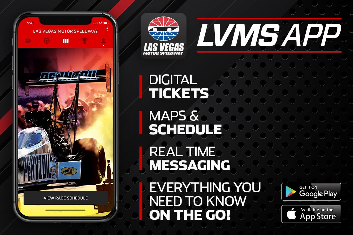 Download the free LVMS App before you head to the track to have access to your digital tickets, schedule and live event updates! Free to download in the App Store and Google Play Store! #NHRAFinals