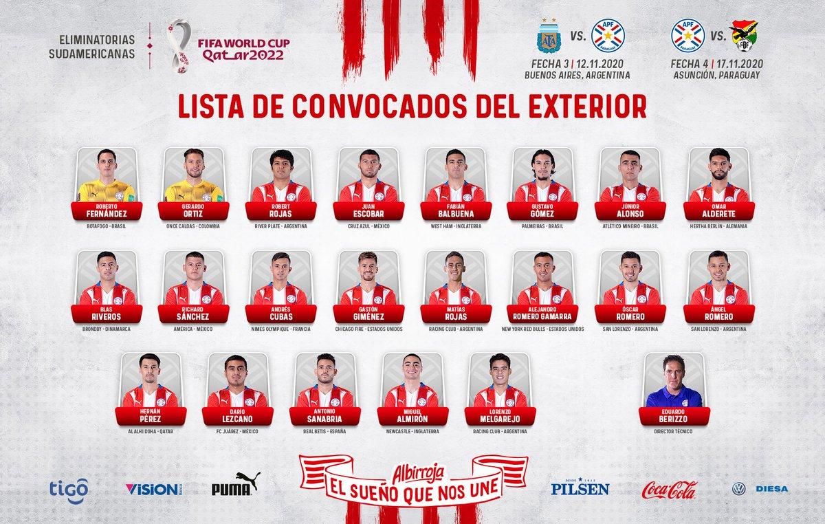 #Albirroja ⚪🔴  🗒️ Futbolistas del exterior convocados para los encuentros ante #Argentina 🇦🇷 y #Bolivia 🇧🇴 por las eliminatorias rumbo a #Qatar2022 🇶🇦🏆  ¡Vamos Paraguay! #ElSueñoQueNosUne 🇵🇾 https://t.co/t78OjfxpjD