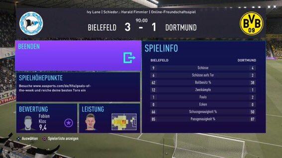 Die erste große Überraschung am 6.Spieltag! Wir schlagen Borussia Dortmund dank den Toren von Klos und Gebauer mit 3:1 und haben somit 7 Punkte auf dem Konto! 🔵⚪️ #DSCBVB #FIFA21 https://t.co/1QqYmEwYUz