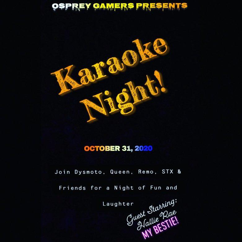 Reminder tomorrow will be Osprey Gamers Karaoke Night! Come join us as we sing off key! 🎶 🎤 🎵 @dysmoto @Skroh1493 #twitchsings #twitch #singing #karaoke #goodtimes #ospreygamers https://t.co/j3dDBivAE2
