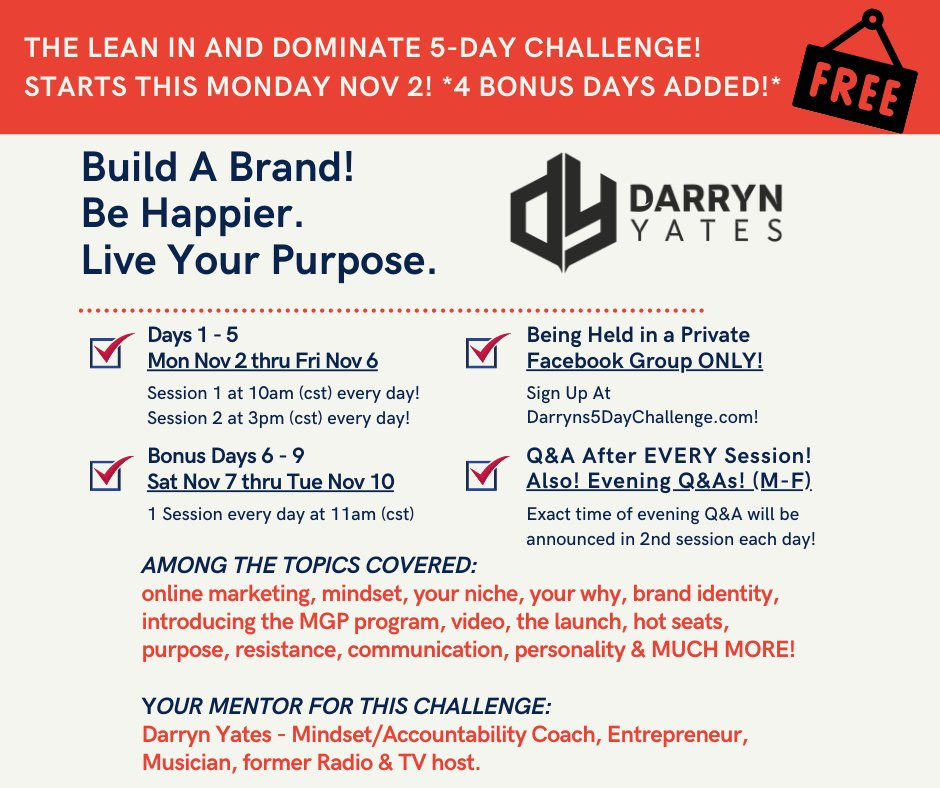 ANYONE WHO HAS NEGLECTED A DREAM, PASSION OR TALENT! My FREE 5-DAY CHALLENGE starts Mon Nov. 2 at 10AM cst! JOIN my private Fb Group! Sign up: https://t.co/Ebra7u1I7R  #mindsetmatters #Grind #pursuit #inspirational #Happiness #purpose #Legacy #Passion #liveyourbestlife #hustle https://t.co/YLsgiaSjZd