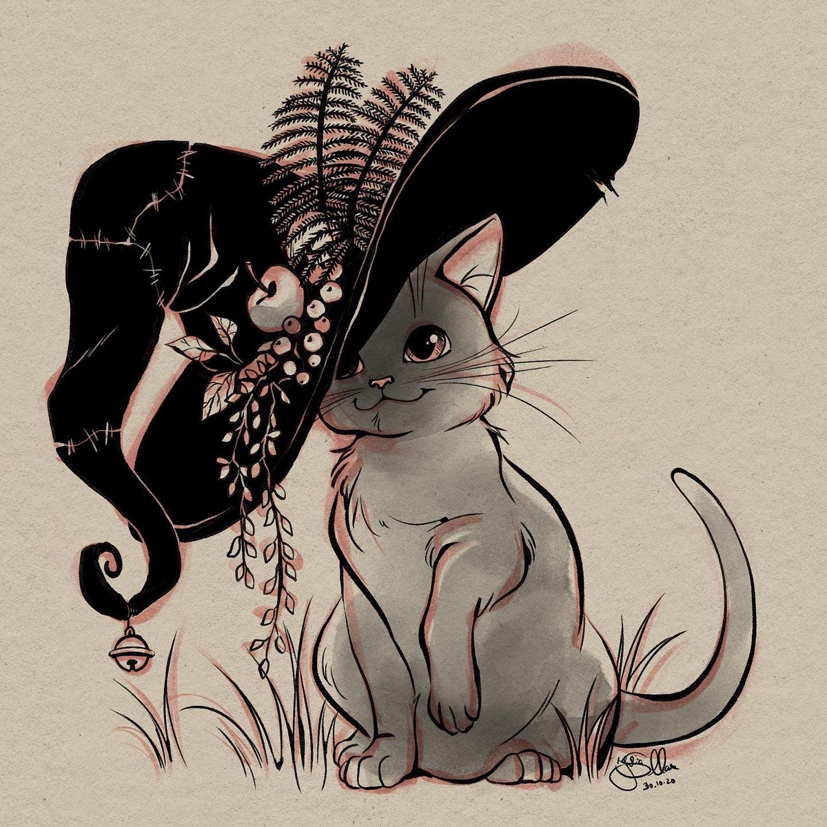 Inktober day 30: cat . (from @ArtsMadie's inktober promptlist) . The cat with the shrunken witch hat. 🐱 . . #madieink20 #songsofhalloween #inktober2020 #inktober  #witch #witchhat #cat #cats #katze   #hexenhut #witchhats #witchythings #witchyart  #inkdrawing #inkdrawings https://t.co/xAlDsc2DtK