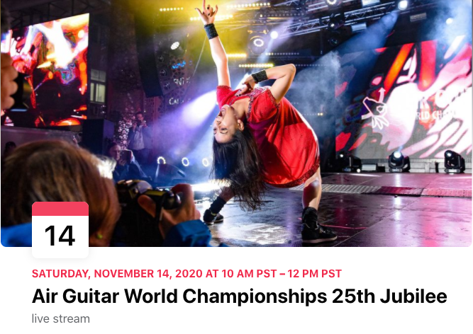 MT @AGWC: Announcing the #AGWC25 Jubilee, livestreamed worldwide 14 November! Celebrating our 25 anniversary this year, this show will include magnificent air guitar shows, live discussions, star moments, awards + more! RSVP: https://t.co/MUNkp9oRmu #Finland https://t.co/KAyWDRoEYv
