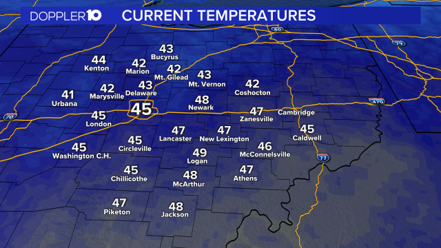 2PM TEMPERATURE CHECK---   Here's a look at temperatures around Central Ohio this afternoon.   #10TV   RADAR: https://t.co/hdHDAZgBcU https://t.co/wT91ND0KDQ