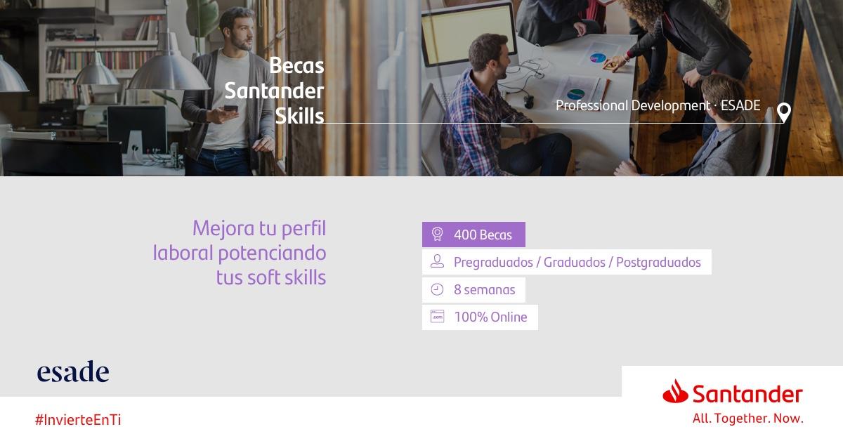 Beca Santander for Professional Development: #InvierteEnTi y desarrolla #competencias #transversales que te ayuden a tener una base sólida, aumentando tus posibilidades de #empleabilidad. 💼🤝.  ¡Inscríbete hasta el 12/11/2020! 📅.  https://t.co/l6yTP2Gop2 ⠀⠀⠀⠀⠀ https://t.co/I8OWT2WswD