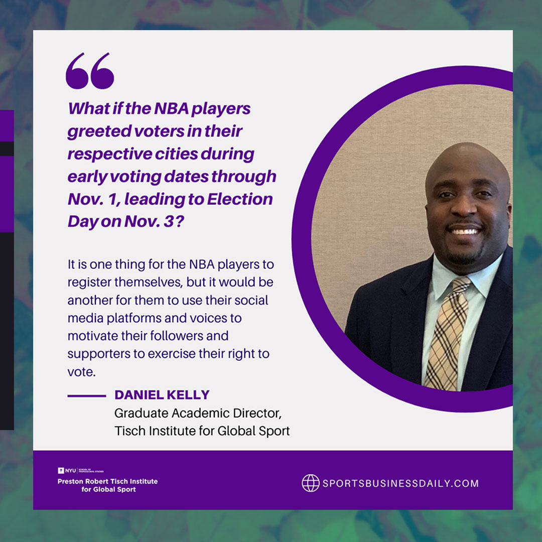 """Check out this Op-Ed our Academic Director, @danielgkelly2  wrote for @sbjsbd """"National Basketball Association Putting Words Into Action, But More Can Be Done."""" . https://t.co/U0eGPrpRQj . #sportbusiness #election2020 https://t.co/bIxfbfIgwT"""