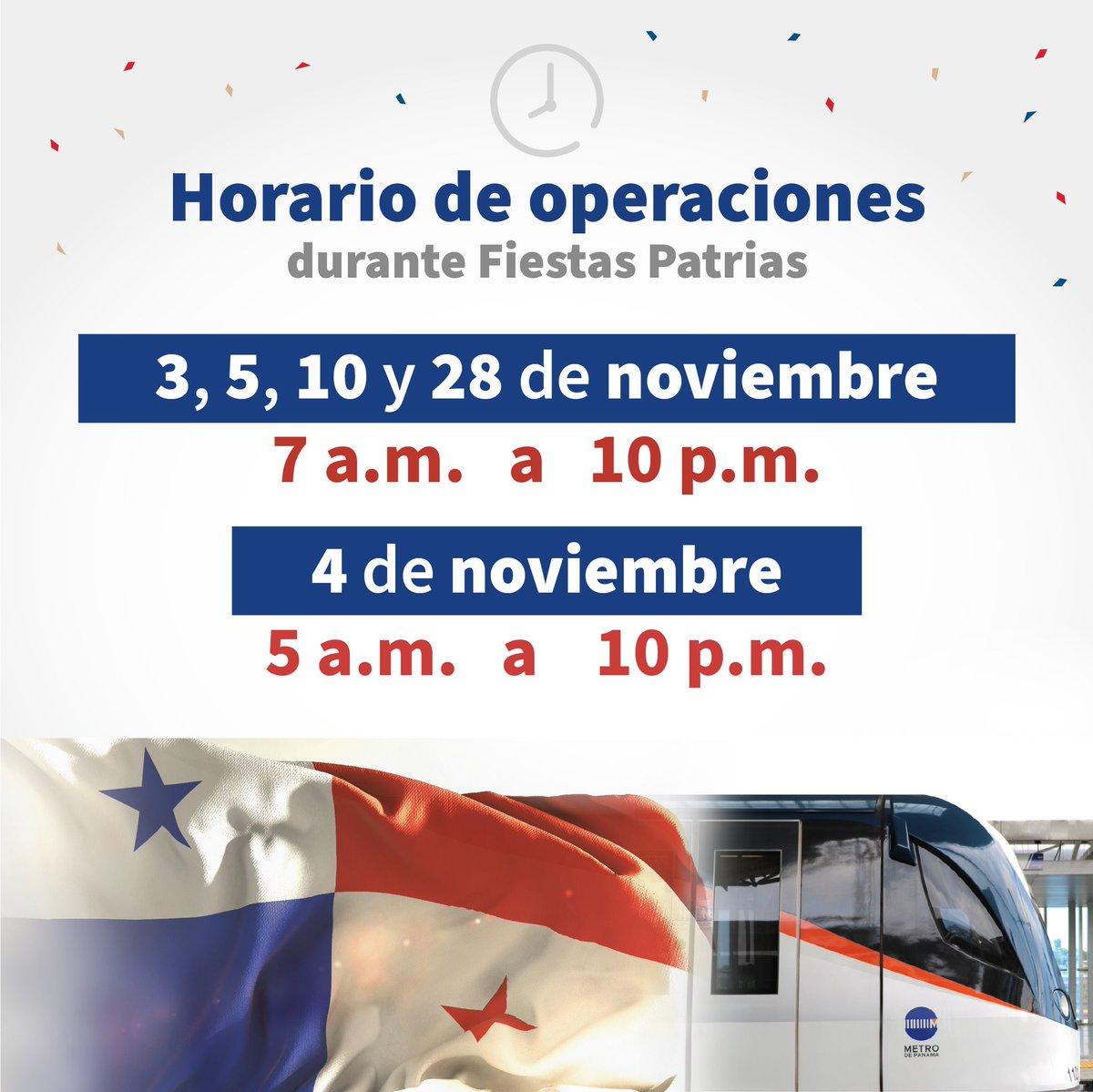 #MetroInforma compartimos nuestro horario de operaciones durante fiestas patrias 🇵🇦 Recuerda: no bajes la guardia, protégete del #COVID19 https://t.co/lztIB3IY2L