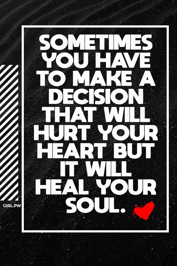 Sometimes you have to make a decision that will hurt your heart 💔 but it will heal your soul.  #breakupquotes #breakup #breakups #heartbroken #heartbreak #brokenheart #nolove #lovehurts #ex #exboyfriend https://t.co/to2mwAR9BJ
