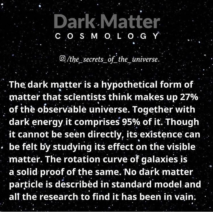 DARK MATTER 👅! Dark matter is hypothesized to be a form of matter thought to account for approximately 85% of the matter in the universe and about a quarter of its total mass–energy density or about 2.241×10−27kg/m3. #cosmos #DarkMatter #Space  #UNIVERSE #supernova #blackhole https://t.co/bwPV9ALYr0
