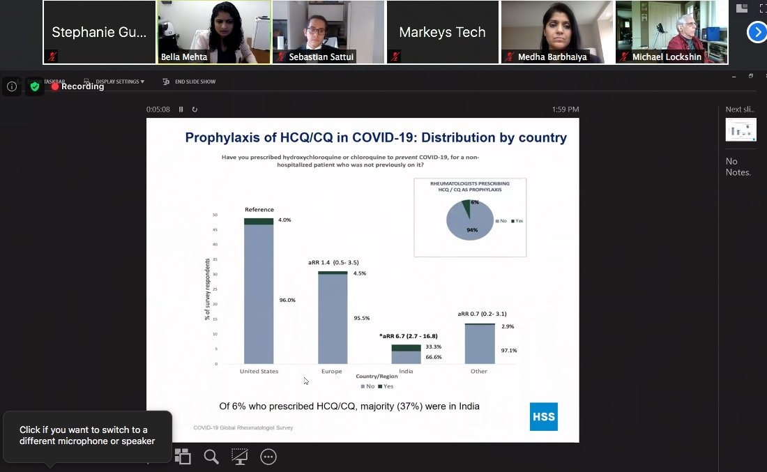 An #HSSAlumni session on COVID-19 and the rheumatology experience. Here, Bella Mehta, MBBS, MS, discusses the results of a COVID-19 Rheumatology Physician Survey #RheumTwitter https://t.co/M62VCZN9Ca