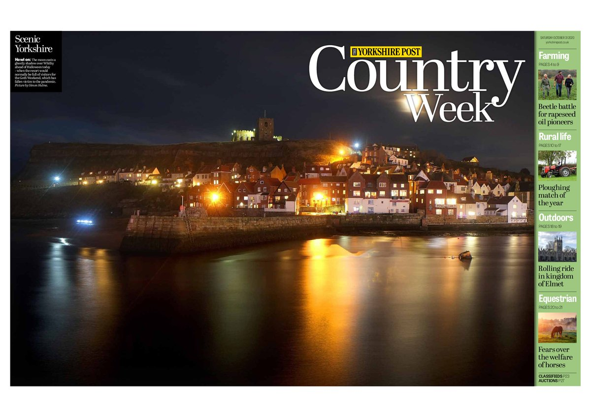This weekends @yorkshirepost @ypcountryweek tips its hat to Halloween and what would have been Whitby Goth weekend with a classic shot of Whitby at night taken by @SimonHulmeYPN #buyapaper and subscribe at yorkshirepost.co.uk/subscriptions