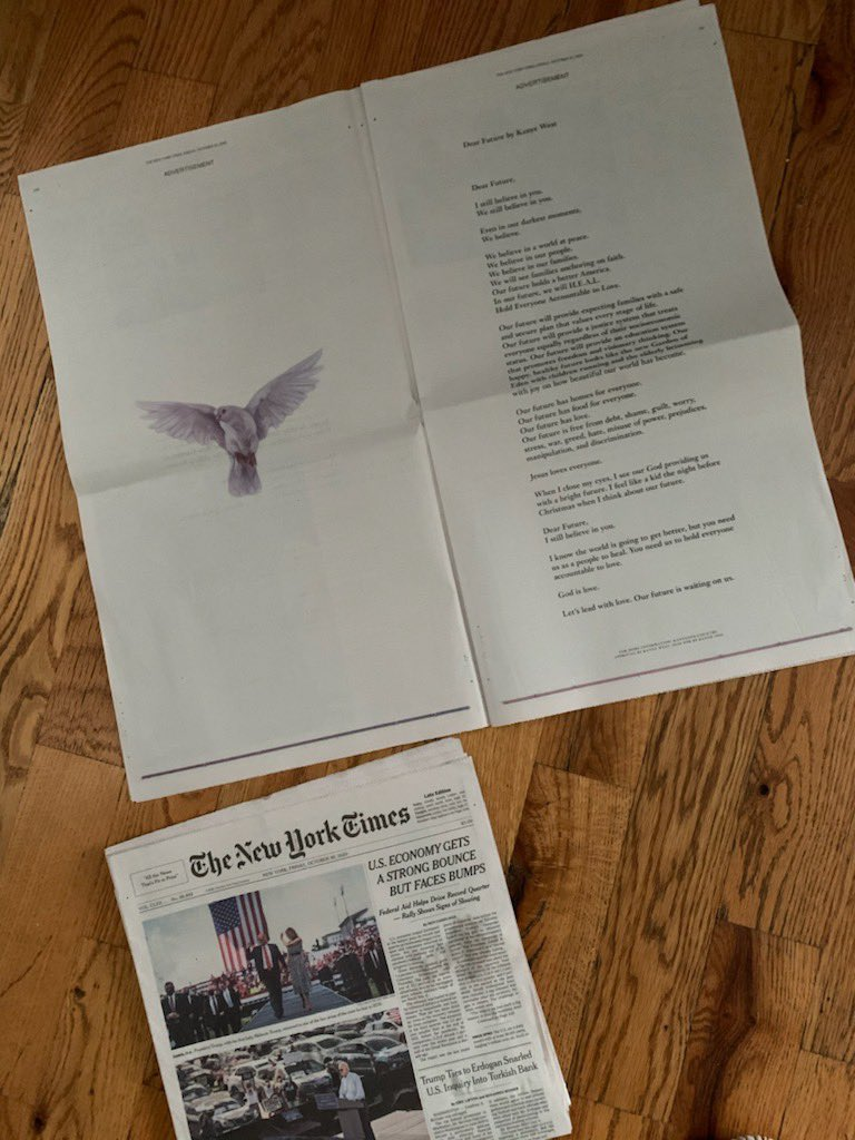 DEAR FUTURE, I STILL BELIEVE IN YOU      PRINTED IN THE NEW YORK TIMES THIS MORNING     https://t.co/3hGgcjHzRE https://t.co/7tlMR2wa0q