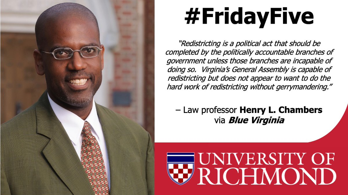 3/5 on today's #Election2020 #FridayFive is @URLawSchool professor Henry L. Chambers. Chambers has authored multiple pieces about Amendment 1 on Virginia's ballot. Read more here: https://t.co/BgoqpVG9jZ https://t.co/NMgdaJXUiY