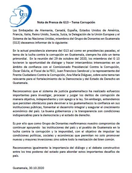 test Twitter Media - El Grupo de Donantes de Guatemala G13 reafirmó su compromiso anticorrupción en una reunión con distintos sectores del país https://t.co/cDXPutO7jp