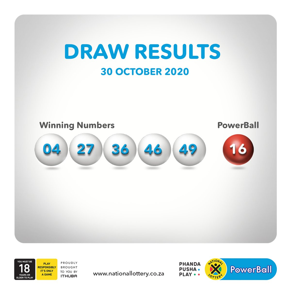 #DrawResults for 30/10/20 are:   #PowerBall: 04, 27, 36, 46, 49 #PowerBall: 16 #PowerBallPLUS: 16, 26, 34, 41, 42 #PowerBall: 10 https://t.co/vDMaT4i1z2