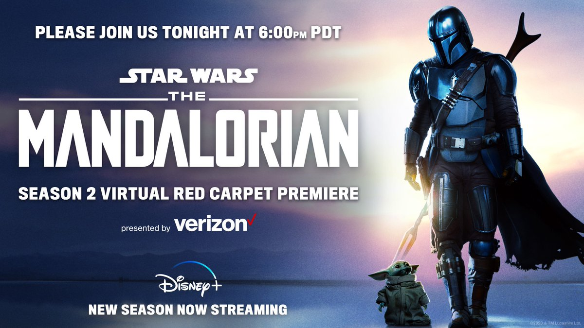 TONIGHT! Tune in for a virtual red carpet premiere of #TheMandalorian, presented by @Verizon. Watch it here or on https://t.co/ZXsQCC0VWN at 6p PT. https://t.co/aduQlysWWQ