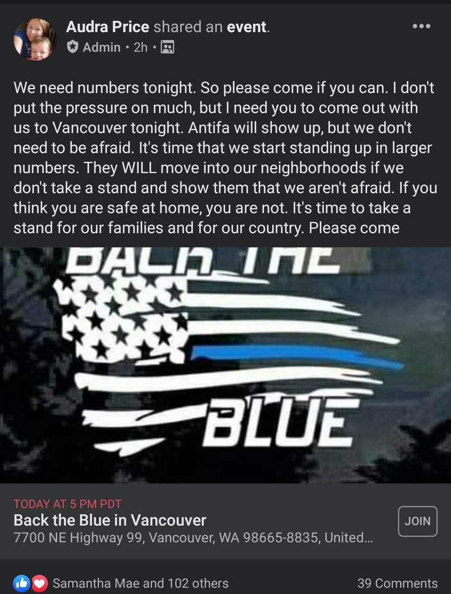4 different Far Right contingents calling for peeps 2 show at Vigil.Audra Price from  #BlueLivesMatter Cops NW group and Joey Gibson of Patriot Prayer are 2. Audra helps spread rumors there was a riot last night in Hazel Dell. I havnt seen this type of chud response in a bit 2/