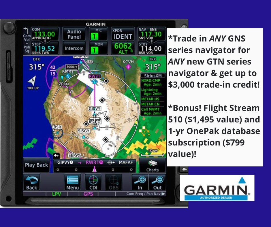 Out with the old. In with the new! Take advantage of this great Garmin avionics upgrade special while you can still save thousands. Call 800-BISON-99 to schedule. #bisonaviation #garmin #pilot #avionics #pilotlife https://t.co/uoruFdIr4h