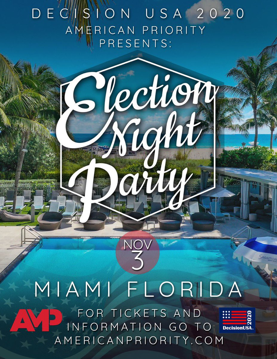 BREAKING: We are hosting a major oceanfront poolside Election Party in South Beach Miami on November 3rd! You don't want to miss this! 🇺🇸 Register to attend: americafirstevents.swoogo.com/ampvote2020