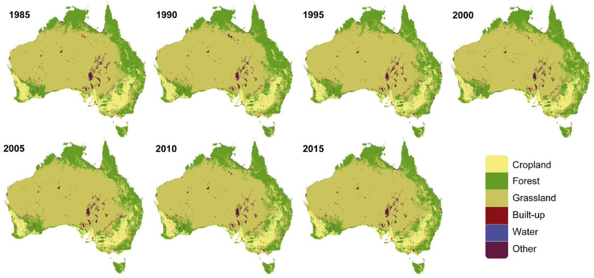 Wall-to-wall mapping 30 years of Australian land-cover change at 30m resolution via #remotesensing with @GoogleEE. Fantastic first PhD paper from @mioash. Thanks @BrenWintle ARC. @MHadjikakou @_Planet_A @DeakinCIE #openaccess https://t.co/EOcV4r2XgS https://t.co/h1ykN8MQNw