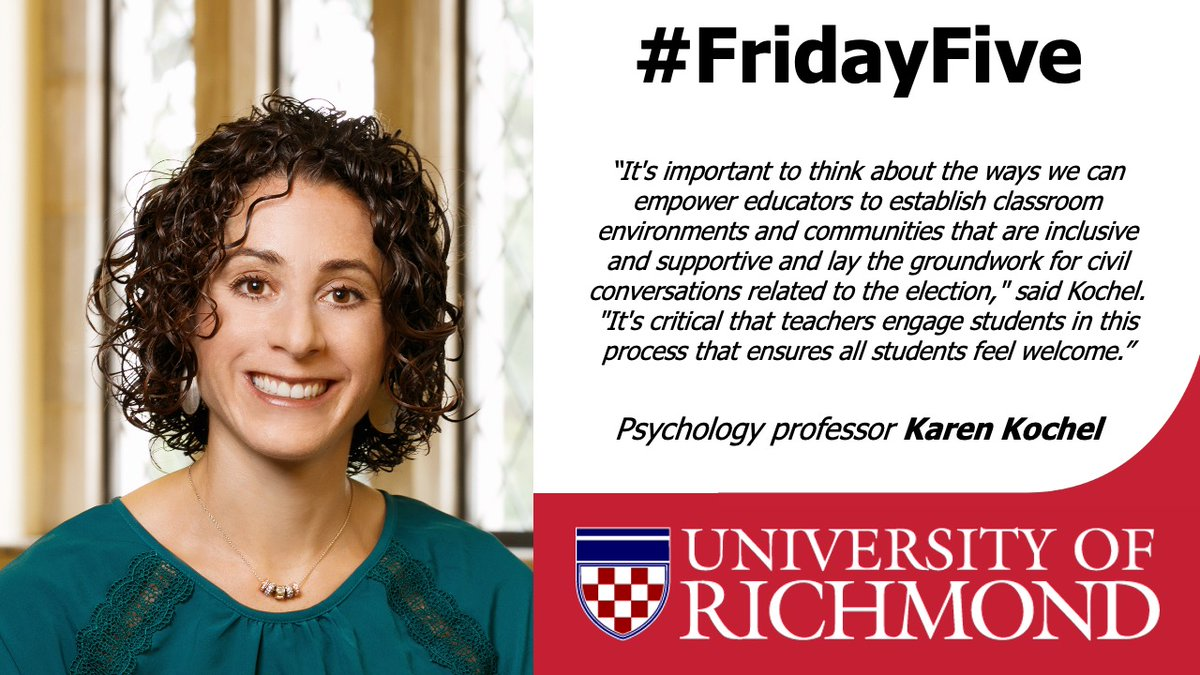 We're finishing today's #FridayFive with psychology professor Karen Kochel. On this podcast interview Kochel shares tips on how educators may have productive discussions with their students about #Election2020. https://t.co/fOuqRi7Q2R https://t.co/l8OsVUqavX