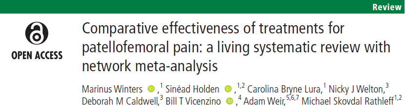 Who's excited to see more #LivingSystematicReviews in #BJSM?  This one on the comparative effectiveness of treatments for patellofemoral pain #OpenAccess   👏 @MarinusWinters @Sinead_Holden @Bill_Vicenzino & team  https://t.co/o5noyxlQtd https://t.co/ImlmNpo5Nt