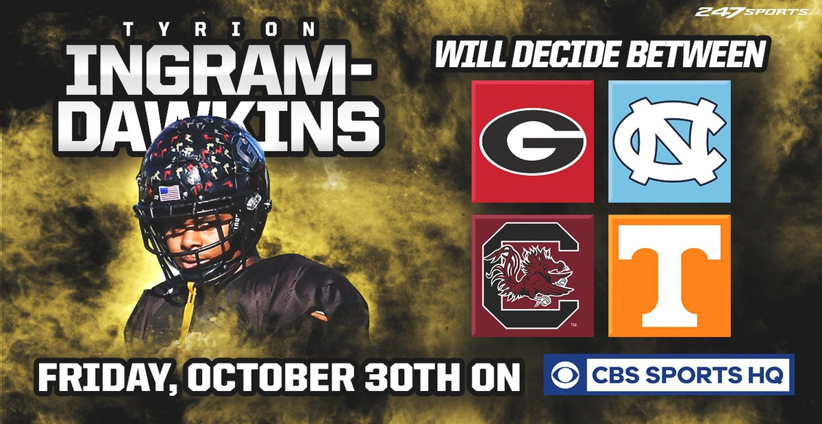 Four-star defensive tackle Tyrion Ingram-Dawkins will announce his commitment on @CBSSportsHQ shortly: 247sports.com/Article/How-to…