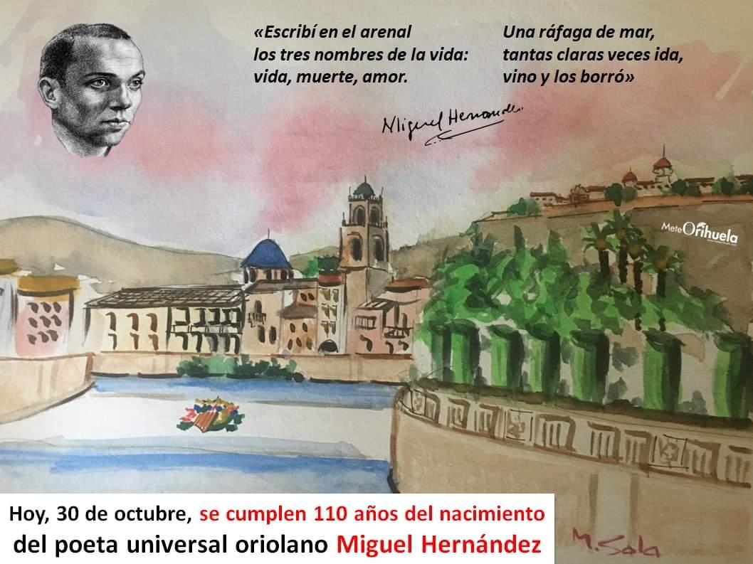 ¡Siempre presente! Tal día como hoy (30 de octubre), hace 110 años, nació el poeta universal oriolano #MiguelHernández en #Orihuela (#Alicante). Desde
