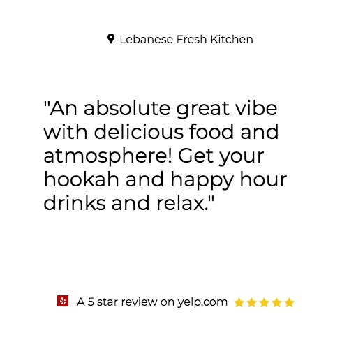 Thank you for this 5 -star review!  We invite everyone to enjoy a relaxed atmosphere and best Happy Hour tonight 5pm-8pm.  Tonight enjoy Hookah FREE If in Arabian Theme Costume    #happyhour #miami #halloween #Hookah #TGIF #Fun #Food #drinks #relax #Weekend #lebanesefreshkitchen https://t.co/OE0D2yQgmh