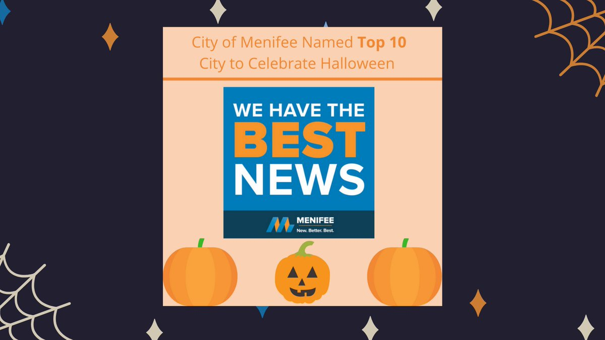 No better way to kick off Halloween weekend than being named a TOP 10 in the nation city to celebrate Halloween! #MenifeeProud #Menifee #Top10 https://t.co/StfOAADmqE https://t.co/jPUmUERN5C