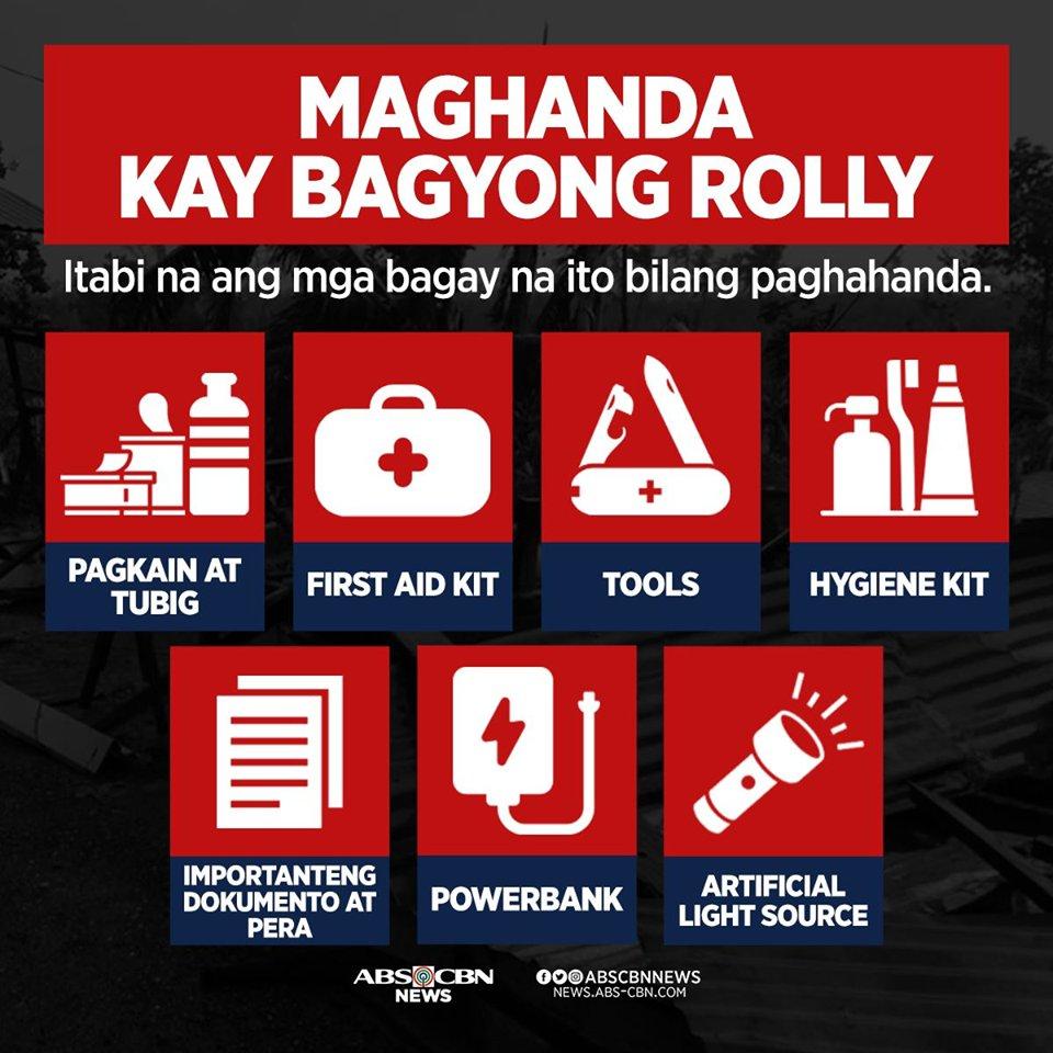 Maging alerto, Kapamilya.  Inaasahang malakas ang paparating na bagyong #RollyPH na magla-landfall sa bansa sa Linggo o Lunes. Itabi na ang mga bagay na ito sakaling kailanganing lumikas. #WeatherPatrol https://t.co/7439vzMELn