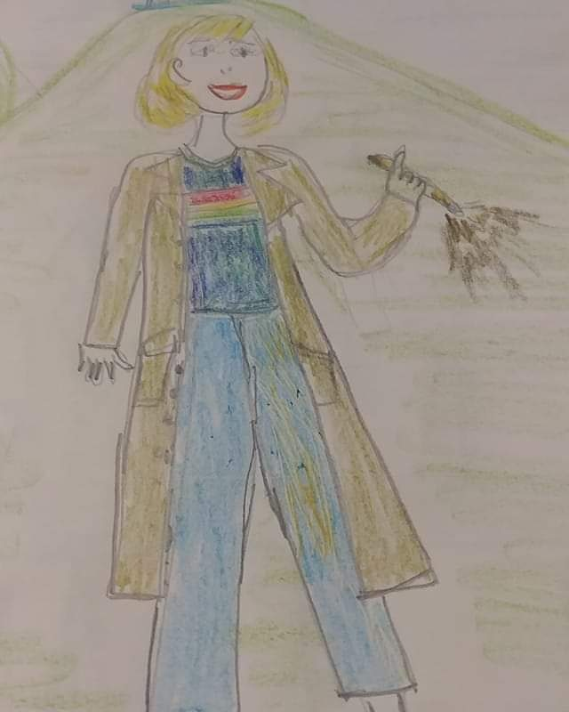 Today's #Drawlloween2020 Prompt: Your Dream Costume Concept  Mary Cyrus on our #Drawlloween Facebook page stepped out of the Tardis just in time for Halloween!