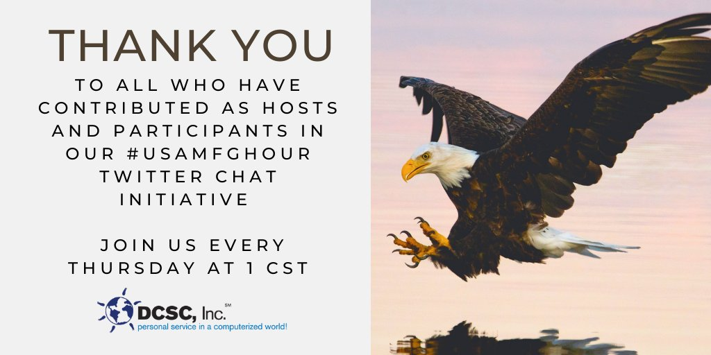 #FF Thank you for those who helped with our #USAMfgHour @DynamaticOEM  @ProTapes  @HomeZada @sctools @ObsidianMfg @GraphicProducts @ASI_Wheels @CvtPlastics @SocialSMktg @CvtPlastics #Appreciation @DondiScumaci @GBmfg_Neil @NigelTPacker   (TY @burleyfires for the idea.) https://t.co/kUcRrCP5K8