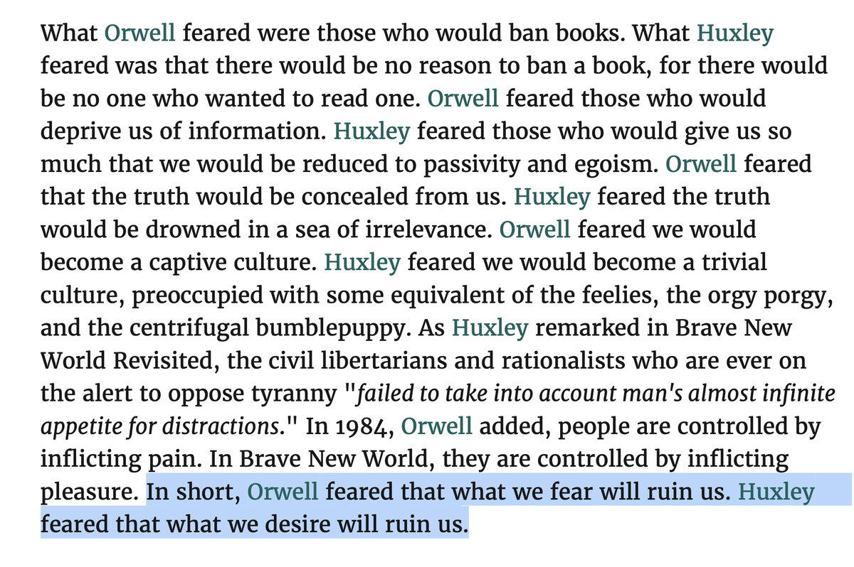 """The quote I read @joerogan at the end is from Neil Postman's """"Amusing Ourselves to Death"""" contrasting George Orwell & Huxley's contrasting dystopias to avoid:  """"Orwell feared that what we fear will ruin us. Huxley feared that what we desire will ruin us."""""""