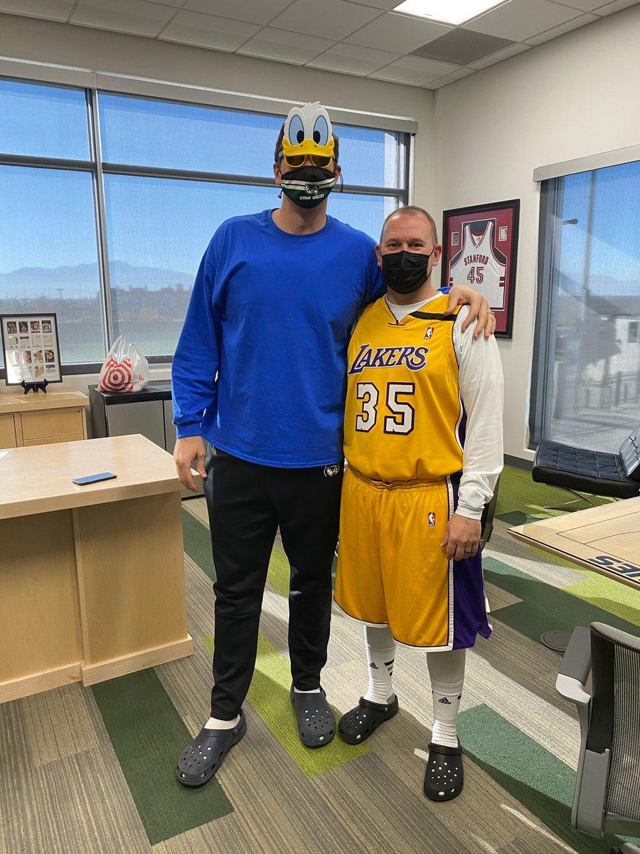 "2X NBA Champion's jersey ✅ Mad Dog's signature crocs ✅  Looking like the Twins poster ✅✅ ""Temporarily"" abandoning my @UtahJazz to be the Mad Dog ✅✅✅  @madsen_mark @Lakers #GoUVU #UVU #TakeNote https://t.co/iJzvqo1myI"