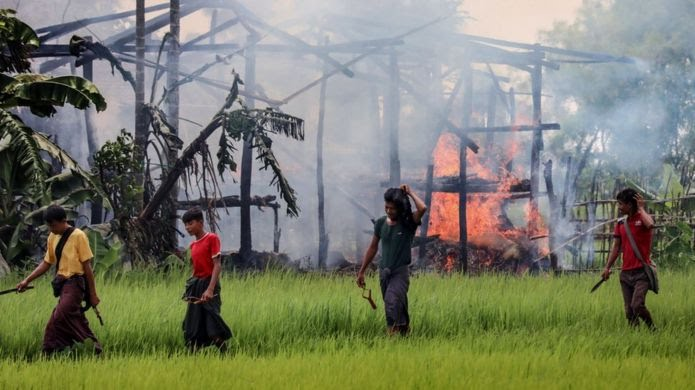 There is no any explanation and excuse  of killing #Rohingya  innocent people in the #ARAKAN state.i mean that there are mercy in their hearts but what kind of mercies will in their hearts to Slaughtering the #Rohingya.they did tossed our villages into ashes, Then since August. https://t.co/b0Y7mCARNQ