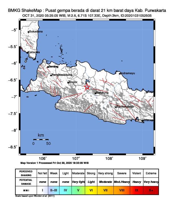 ShakeMap Gempa Purwakarta pada Sabtu (31/10) pagi