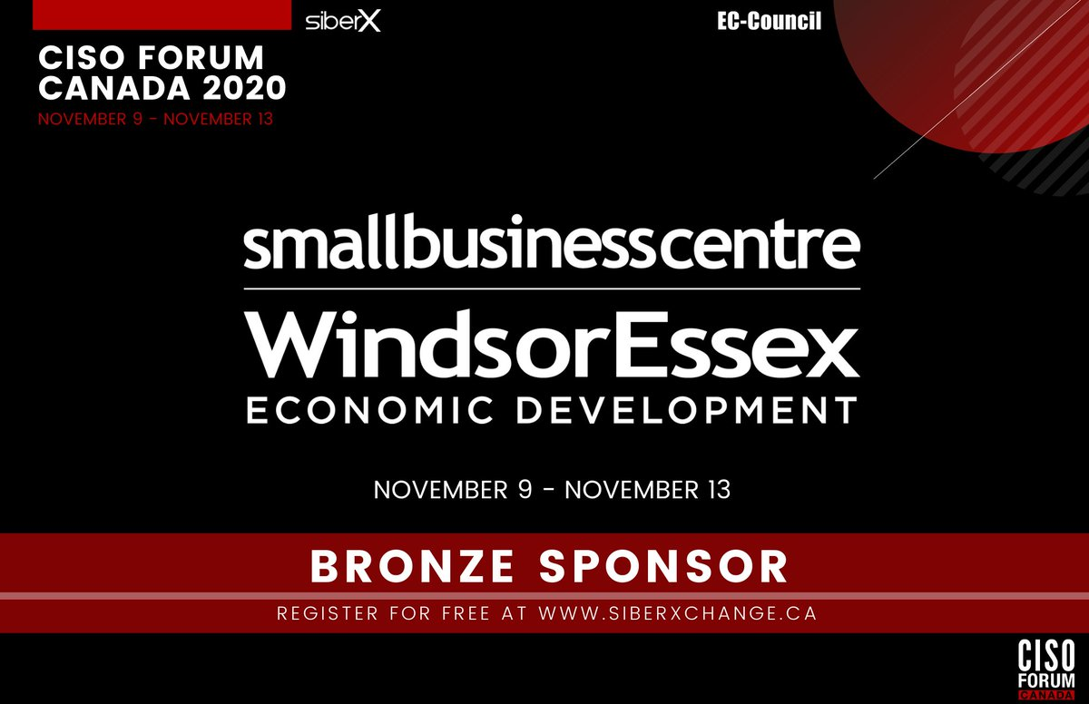 We're excited to welcome the Small Business Centre Windsor-Essex @SBCWindsorEssex as a #Bronze #Sponsor for the CISO Forum Canada, happening on November 9th-13th, 2020!  The event is fast approaching and we cannot wait!  Register for free at https://t.co/9zHpGbB4wB!  #WeAreCyber https://t.co/22FENEguvg