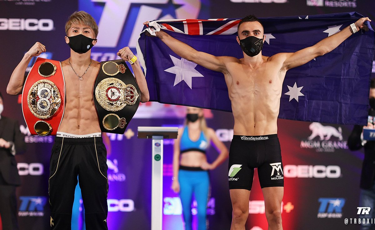 Boxers on weight.  WBA & IBF world Bantam weight title Defence.   Naouya Inoue (19-0-0-16KOs)  ___117.7 Ibs.   Jason Moloney (21-1-0 18KOs)  __ 117.8 Ibs.   We are good to go ✅  #fightinggist #boxing #InoueMoloney #toprank #boxingstream  #toprankboxing #BoxingNews #worldboxing https://t.co/RMn3IWQWeu