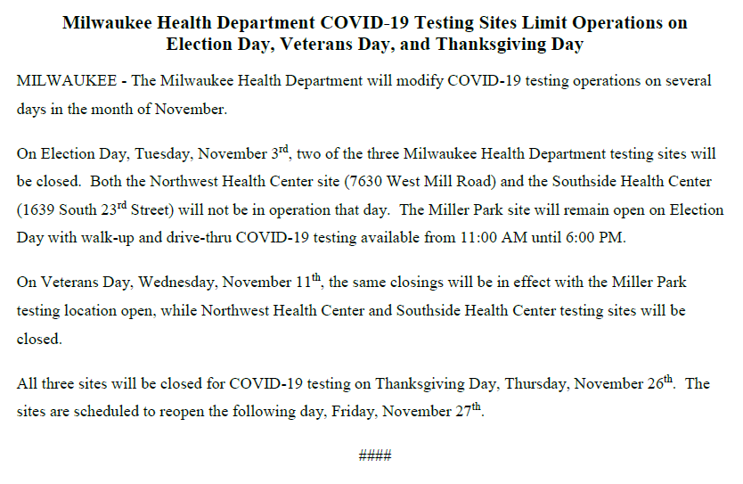 View @cityofmilwaukee Phase 4.2 Order update, business update and #Covid19 testing site operations updates at https://t.co/4gE3MU6qPm. #movingMKEforward #staysafeMKE https://t.co/tt4N5aFybq