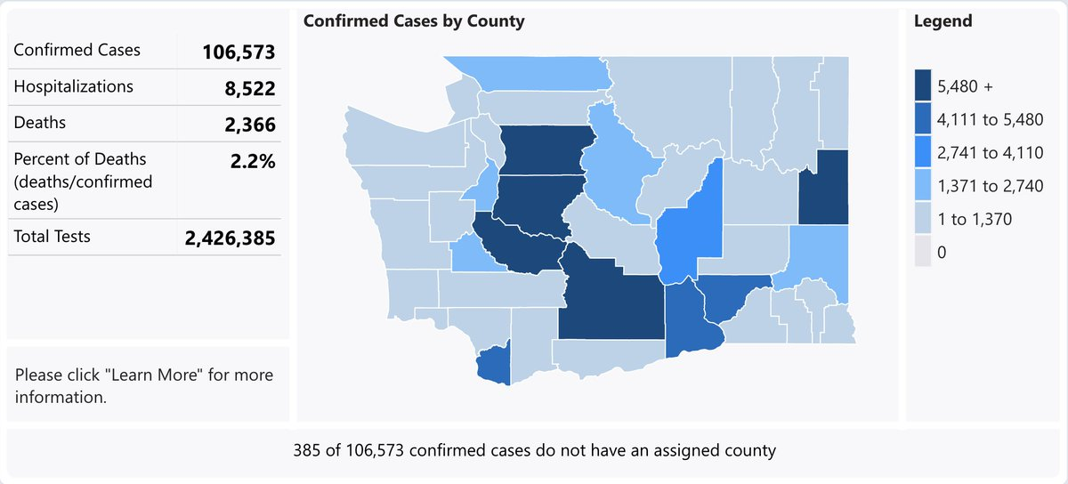 Washington State Department of Health reported 1,016 new coronavirus cases on Friday — the first time in recent memory that figure has surpassed 1,000 — bringing the total to 106,573.  The death toll is up seven to 2,366. https://t.co/IKKfflJ91f https://t.co/BmGfkoO56e