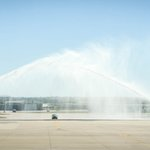 Image for the Tweet beginning: With a water cannon salute