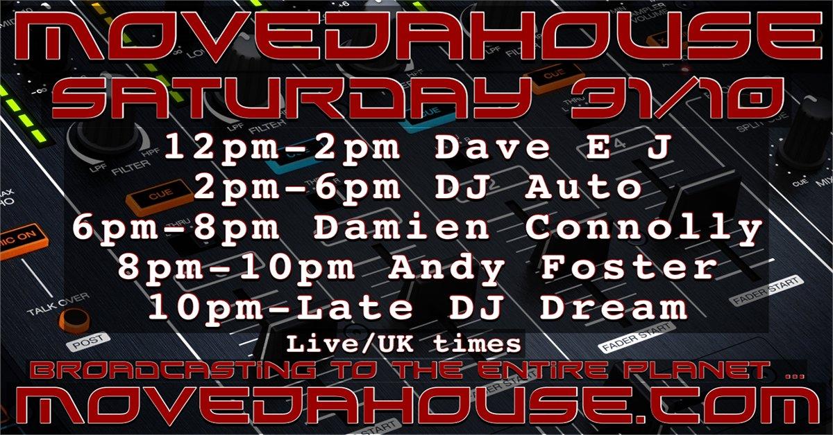 #saturday 31/10/20 #livestreaming #radio from 12pm #UK 12pm-Dave EJ 2pm-DJ Auto 6pm-Damien Connolly 8pm-Andy Foster 10pm-Late-DJ Dream #housemusic #deephouse #techhouse #techno  #dubtechno #deeptech #minimal #acidhouse #Listen #retweet #internetradio :https://t.co/616h5fx4QT https://t.co/NfEBktWjC5