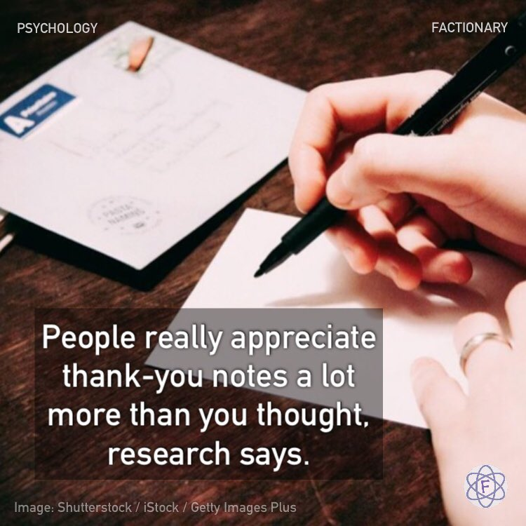 People really appreciate thank-you notes a lot more than you thought, research says.  #psychology #people #appreciation #thankyounotes #thankyou #gratitude #facts #Factionary https://t.co/EqIJfrHiUE